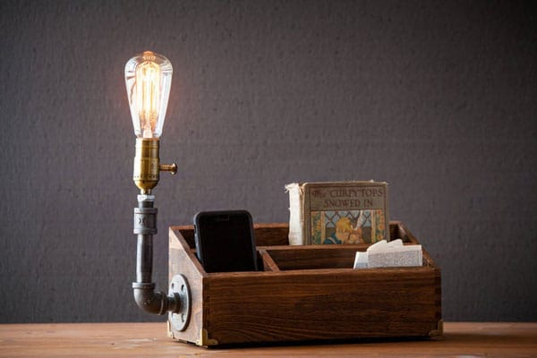 Rustic Desk Lamp Organizer/Docking Station