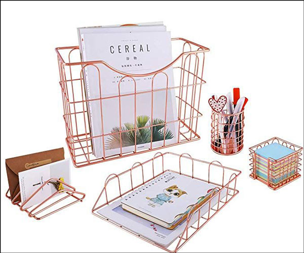 Wire Metal 5 in 1 Desk Organizer Set