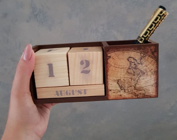 Wood Block Calendar Desk Organizer