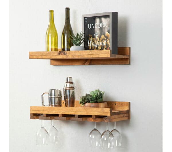 Bernon Wall Mounted Wine Glass Rack Set