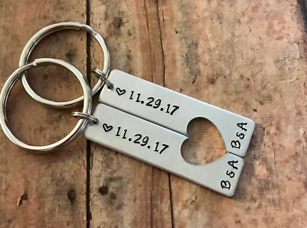 Custom Handstamped Couples Keychains