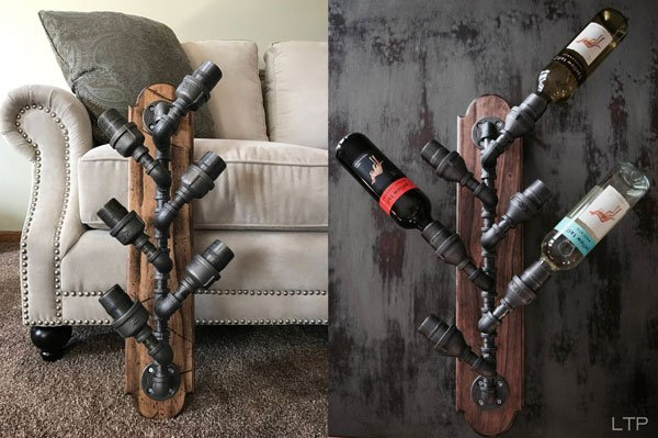 Industrial Pipe Beverage Rack