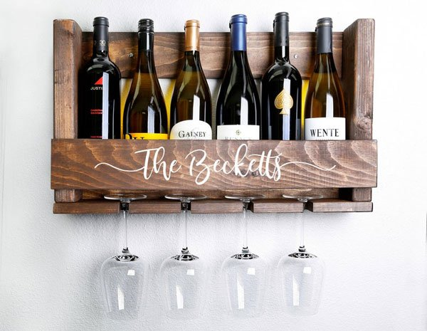 Personalized Wall-Mounted Wine Rack