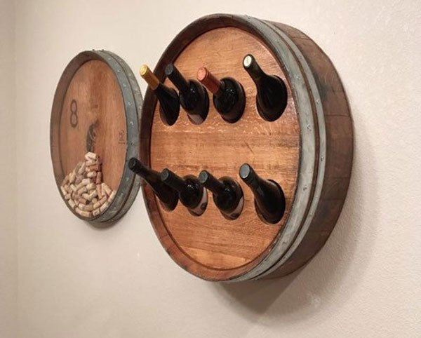 Wall Mounted Wine Barrel Bottle Rack & Cork Holder