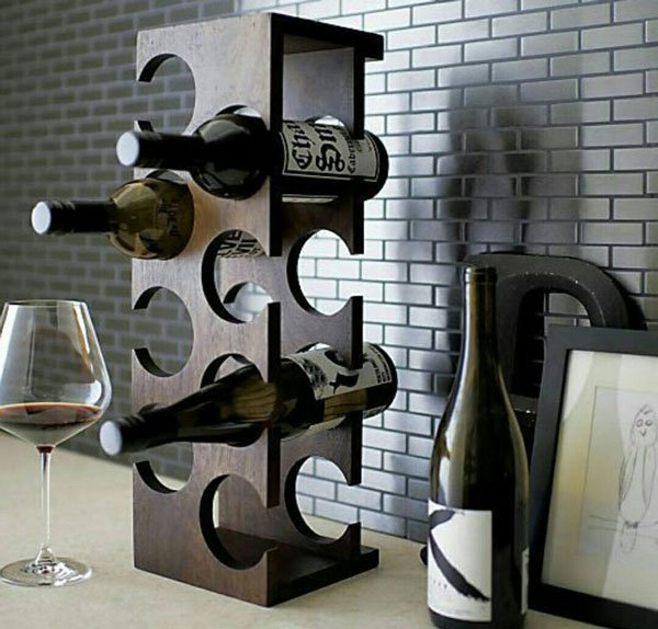 Wooden 8-Bottle Tabletop Wine Holder
