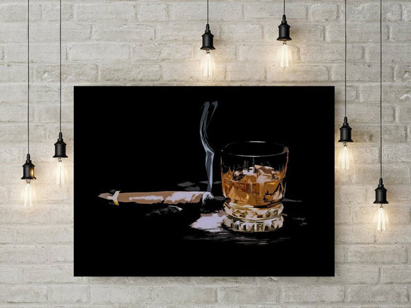 Bourbon and Cigar Wall Art - Gifts for Bartenders