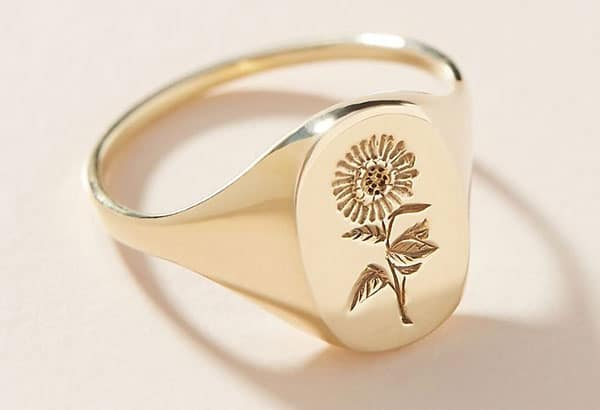 Claus Sunflower Signet Ring