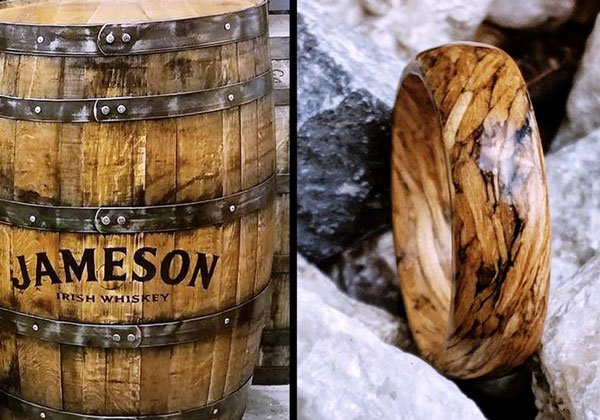 Handmade Custom Jameson Whiskey Barrel Wood Ring