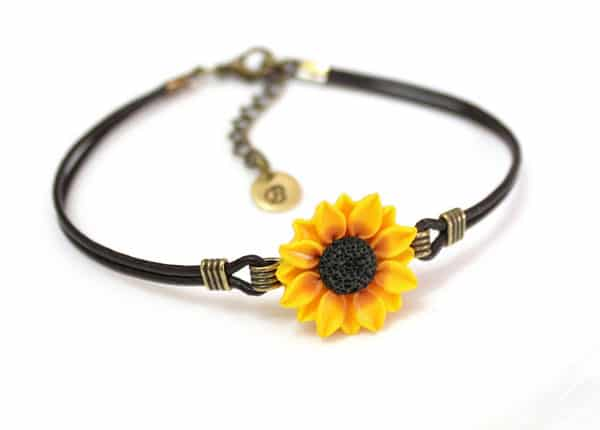 Leather Sunflower Bracelet with Personalized Antique Brass Disc