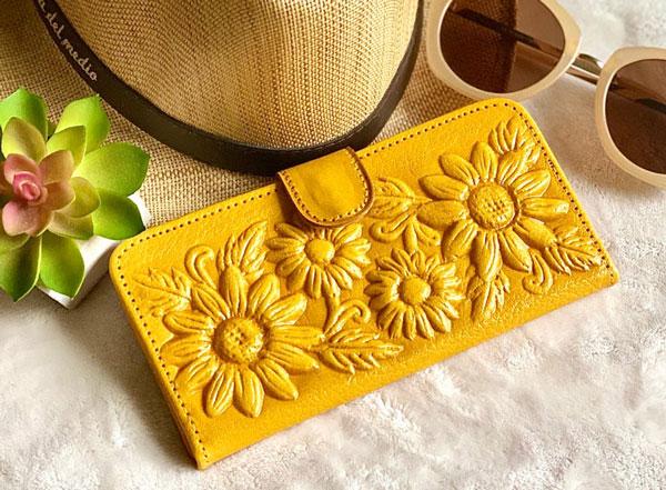 Leather Wallet - Sunflower Purse - sunflower gift ideas