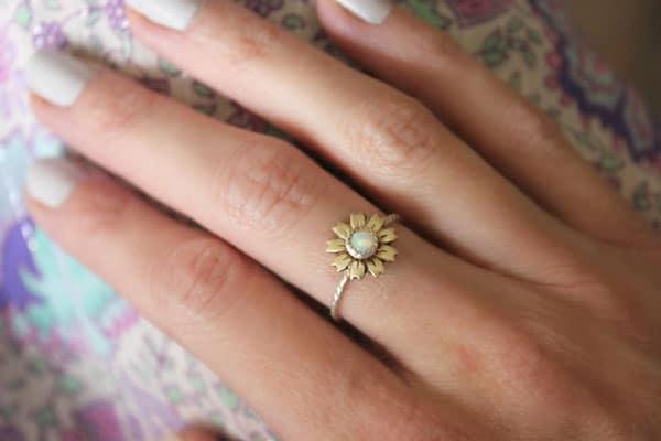 Opal & Sterling Silver Sunflower Ring - sunflower gift ideas