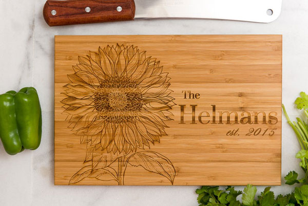 Personalized, Engraved Sunflower Cutting Board