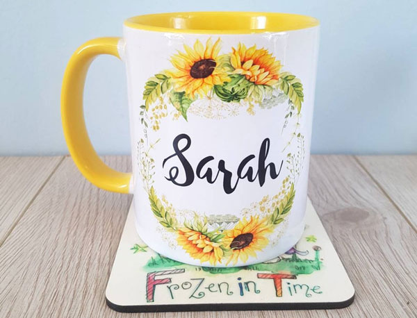 Personalized Sunflower Mug