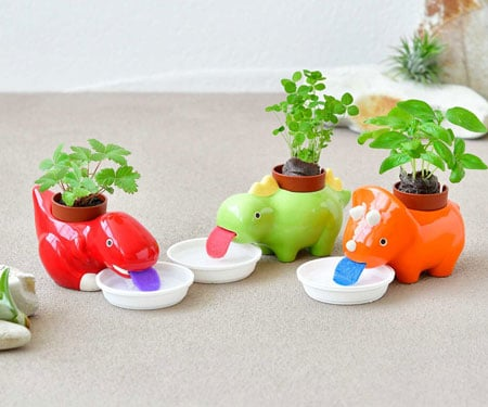 Self-Watering Dinosaur Planters