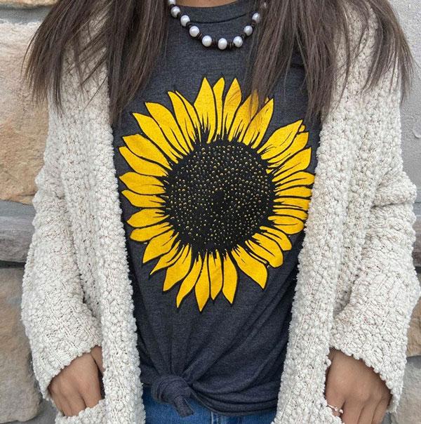 Sunflower Graphic Tee - sunflower gift ideas