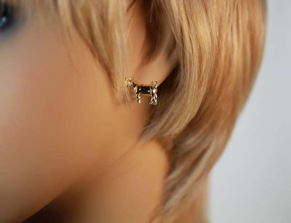 14kt Gold Goat Stud Earrings
