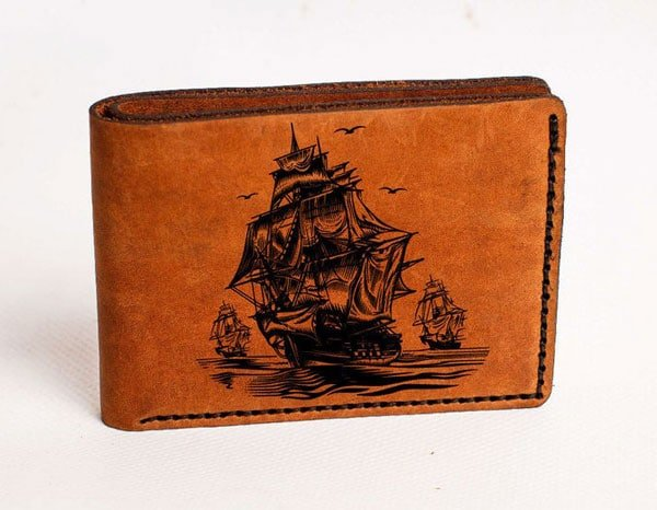 Leather Pirate Ship Wallet