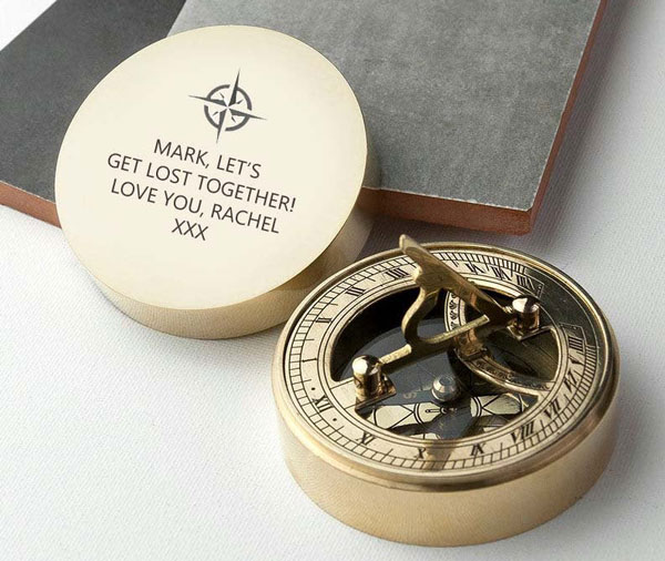 Personalized Brass Engraved Paperweight Sundial Compass