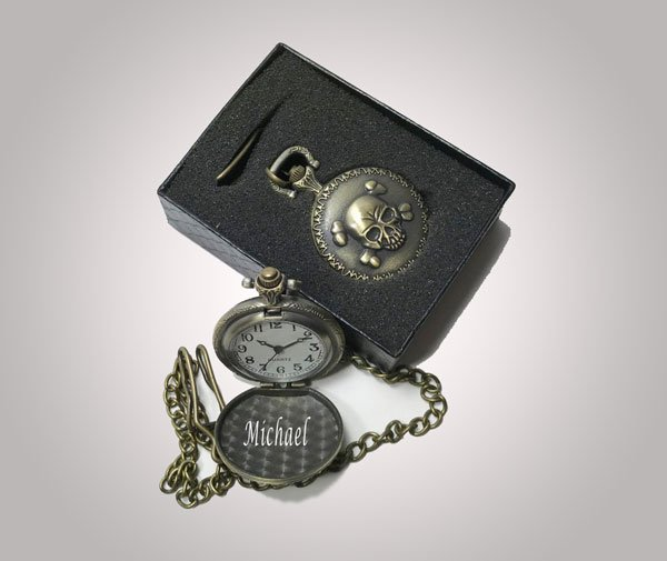 Personalized Engraved Skull & Crossbones Pocket Watch
