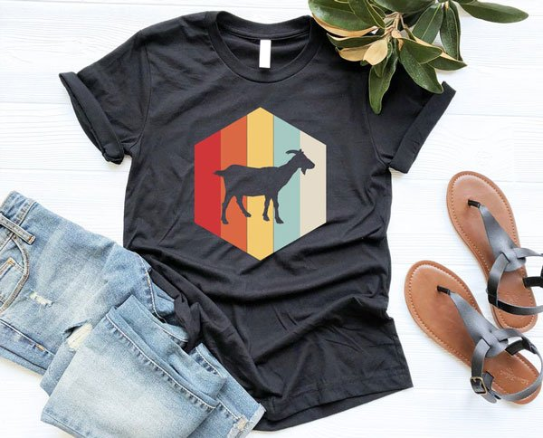 Retro Goat Silhouette T-Shirt - Gifts for Goat Lovers