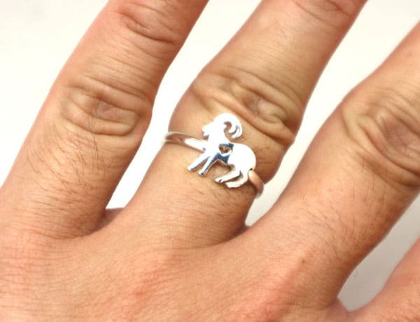 Silver Goat Ring