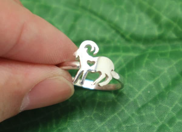 Silver Goat Ring - Gifts for Goat Lovers