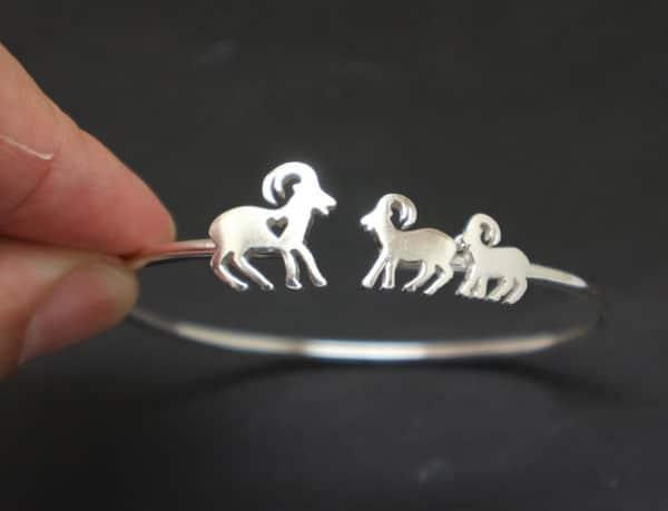 Silver Mother Daughter Goat Bracelet