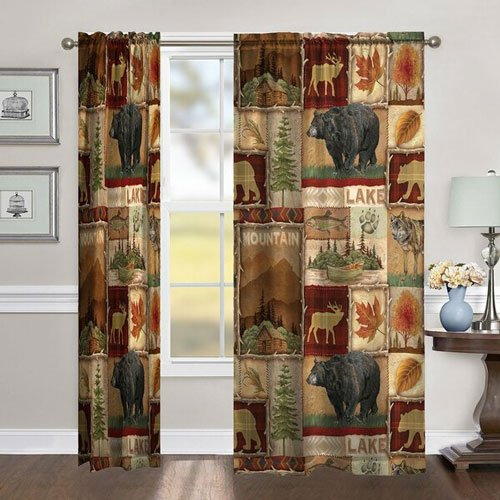 Ardin Lodge Collage Window Curtains - masculine curtain ideas for men