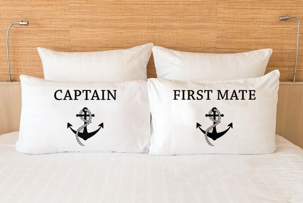 Captain & First Mate Couples Pillowcases - Gift Ideas for Boaters