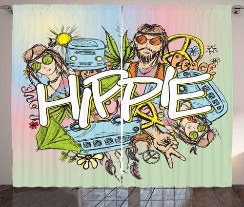 Hippie Life Boho Sketch Window Drapes