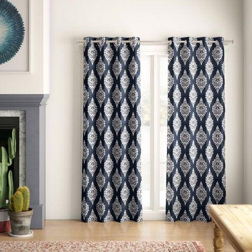 Kassie Damask Room Darkening Thermal Curtain Panels