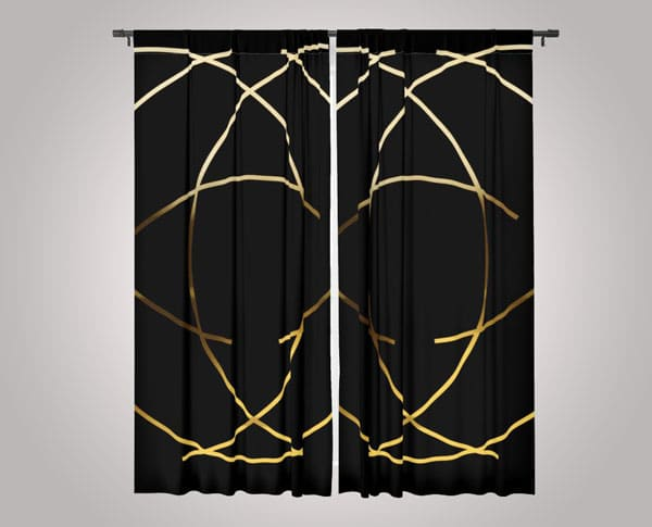 Modern Minimalist Black and Gold Design Blackout Curtains