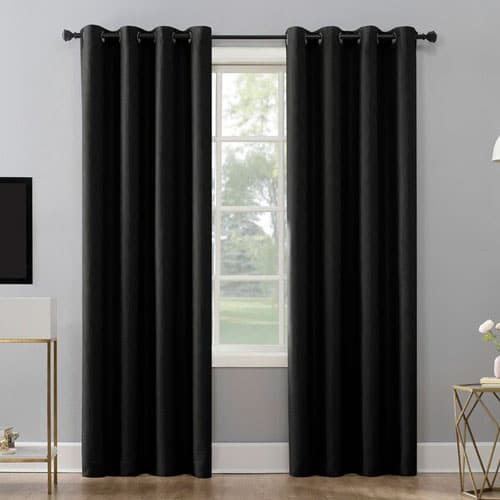 Niko Textured Grid Solid Max Blackout Thermal Grommet Single Curtain Panel
