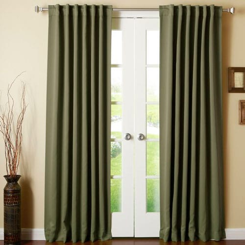 Olive Green Thermal Rod Pocket Curtain Panels (Set of 2)