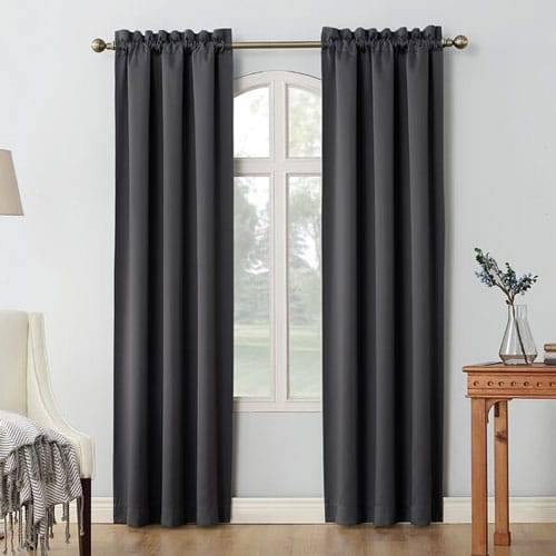 Oslo Solid Max Blackout Thermal Rod Pocket Curtain Panels (Set of 2)