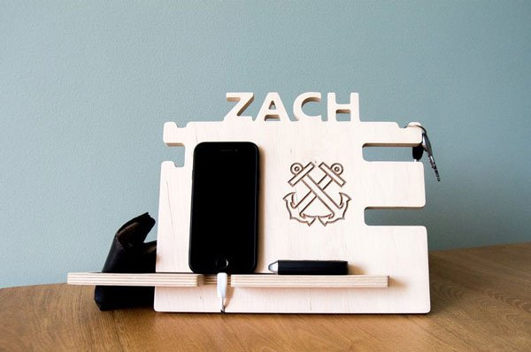 Personalized Nautical Docking Station Wooden Stand