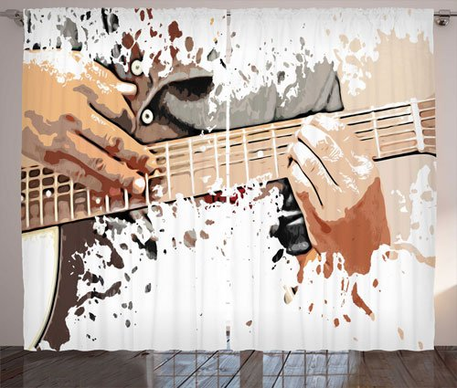 Scene of a Man Playing his Guitar 2 Panels Set - masculine curtain ideas for men
