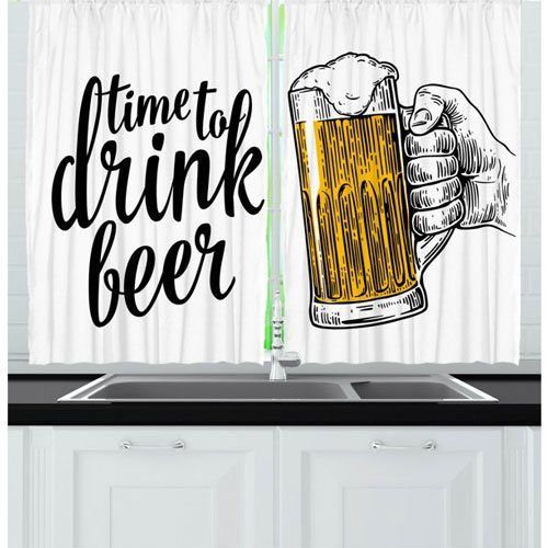Time to Drink Beer Quote Window Drapes for Living Room or Bedrooms - masculine curtain ideas for men