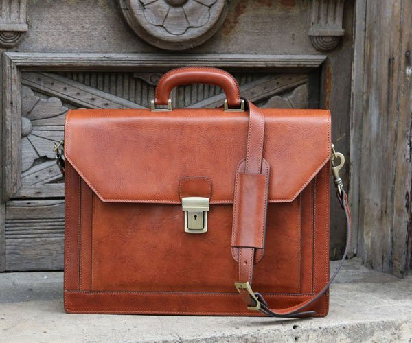 Italian Leather Bankers Briefcase