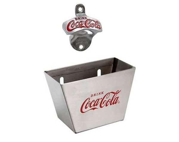 Coke Wall Mount Bottle Opener & Cap Catcher