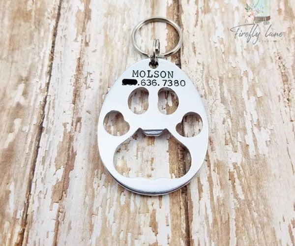 Dog Paw Bottle Opener Keychain