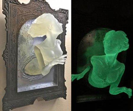 Glow in Dark Ghost Mirror Wall Plaque