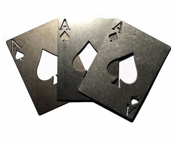 Poker Ace of Spades bottle opener available in Titanium, Stainless Steel or Aluminum