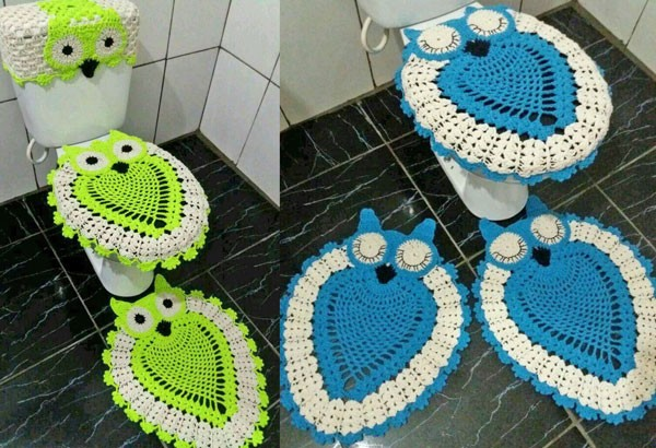 Crochet Owl Bathroom Set Toilet Covers
