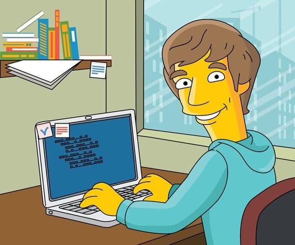 Programmer Gift - Custom Portrait as Yellow Cartoon Character / Programmer