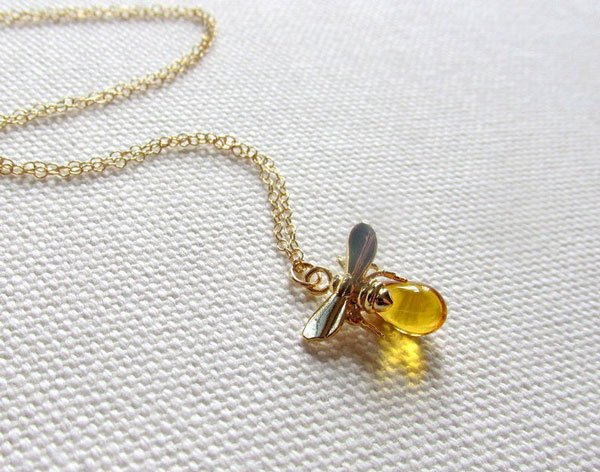 Gold Bee Necklace with Tiny Honey Bee Charm