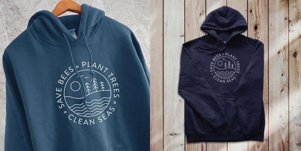 Save Bees, Plant Trees, Clean Seas Hoodie