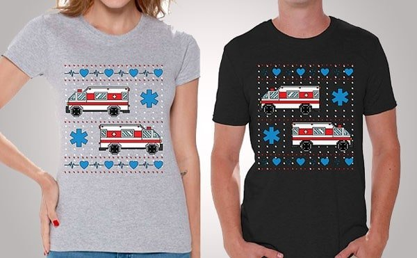 Awkward Styles Christmas Ambulance Truck Tshirt for Him to Her