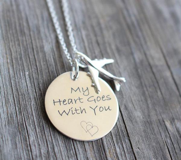 Flight Attendant Custom Engraved Necklace - Gifts For Flight Attendants