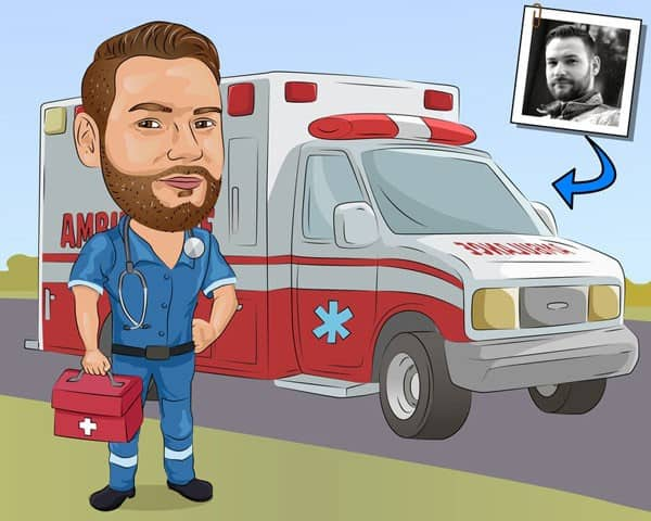 Paramedic Gift - Custom Caricature Portrait From Your Photo